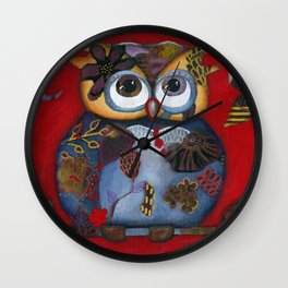 Bohemian Owl and Moon Painting by Kimberly Schulz Wall Clock