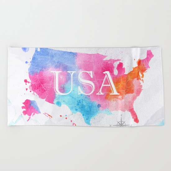 Color USA Map Beach Towel