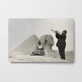 Louis Armstrong at the Spinx and Egyptian Pyrimids Vintage black and white photography / photographs Metal Print