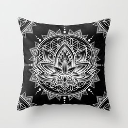 Lotus Mandala - Black Throw Pillow