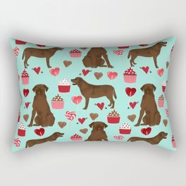 Chocolate Labrador Retriever valentines day cupcakes love hearts dog gifts labs Rectangular Pillow