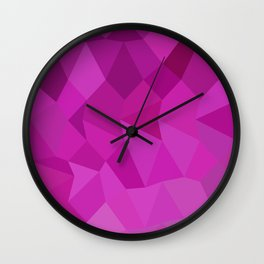 Persian Rose Pink Abstract Low Polygon Background Wall Clock