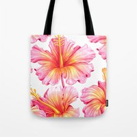hibiscus Tote Bags featuring Hibiscus by Sanjana Baijnath