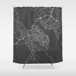 Halifax Map, Canada - Gray Shower Curtain