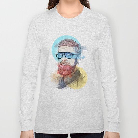 Hipster Beard Pipe Long Sleeve T-shirt