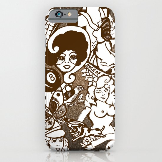 American Traditional Tattoo Collage (Brown) iPhone & iPod Case