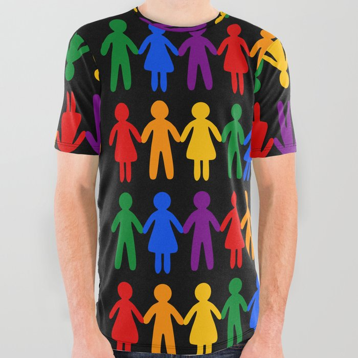 218e1bfe2 Rainbow People Pattern (black background) All Over Graphic Tee by ...
