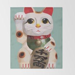 Maneki Neko (Fortune Cat) Polygon Art Throw Blanket