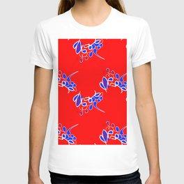 Tile #2 Red-White Line Art on Red T-shirt