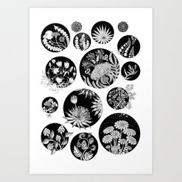 Flowers pattern ink art black and white Art Print
