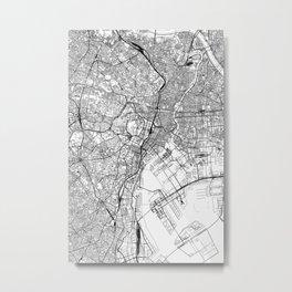 Tokyo White Map Metal Print
