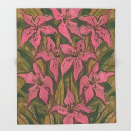 Pink Lilies, pastel painting, floral art, pink & green Throw Blanket