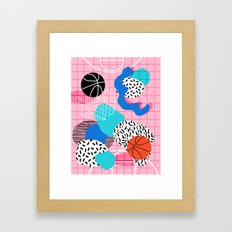 Hot Hand - memphis retro throwback neon grid pattern minimal modern pop art basketball sports Framed Art Print
