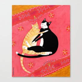 Cats on a rug Tuxedo cat and Orange Tabby by Tascha Canvas Print