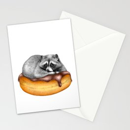 Doughnut Addicted Trash Panda Stationery Cards