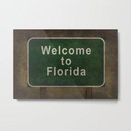 Welcome to Florida roadside sign illustration Metal Print