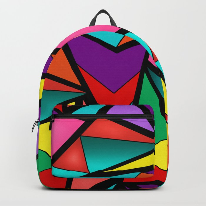 Abstract bright multicolored geometric pattern . 4 . Backpack