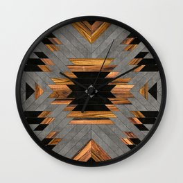 Urban Tribal Pattern 6 - Aztec - Concrete and Wood Wall Clock