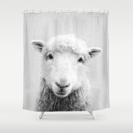 Sheep - Black & White Shower Curtain