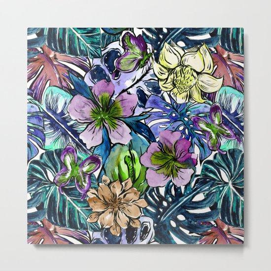 Tropical Blue Flower Hibiscus Garden Metal Print