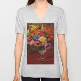 Poppies, Calla Lilies and Blue Flowers still life by William James Glackens Unisex V-Neck
