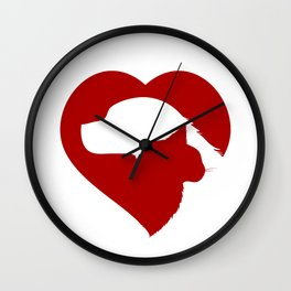 Pet Rescue Cat and Dog Red Heart of Love Wall Clock