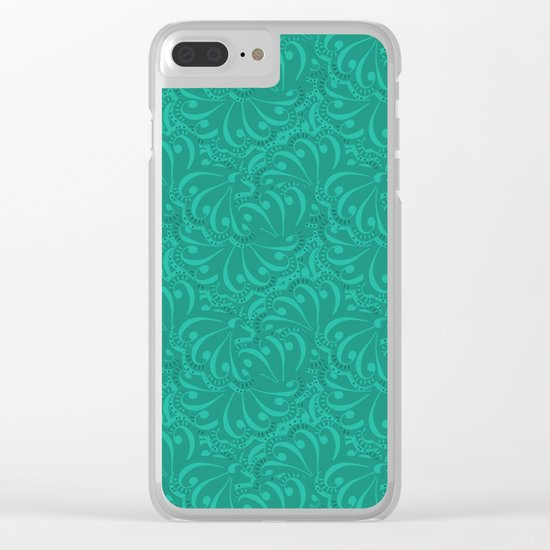 Abstract turquoise green pattern . Clear iPhone Case