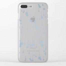 Falling blue stars Clear iPhone Case