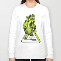 anatomical heart Long Sleeve T-shirts featuring Green Anatomical heart  by Mia Hawk