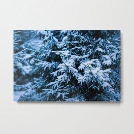 Snowfall Winter Christmas Tree Metal Print