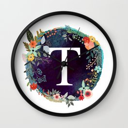 Personalized Monogram Initial Letter T Floral Wreath Artwork Wall Clock