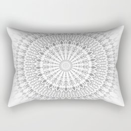 Light Grey White Mandala Rectangular Pillow