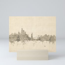 New York Skyline Sheet Music Cityscape Mini Art Print