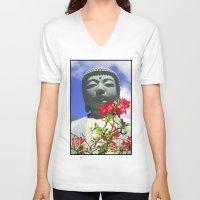 buddah V-neck T-shirts featuring Buddah Serenity by Magmata