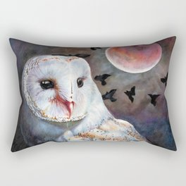 Owl Of The Blood Moon Heart Rectangular Pillow