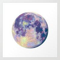 the moon Art Prints featuring Moon by Marta Olga Klara