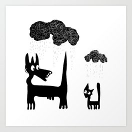 It's Raining Cats and Dogs Art Print