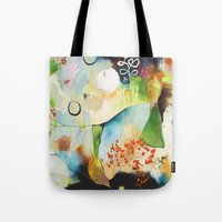 "flora bowley Tote Bags featuring ""Rainwash"" Original Painting by Flora Bowley by Flora Bowley"