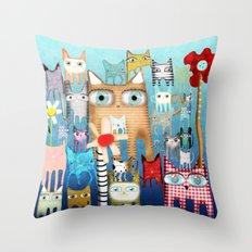 Bunch of Cats Throw Pillow