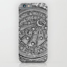 New Orleans Water Meter Louisiana Crescent City NOLA Water Board Metalwork Grey Silver iPhone Case