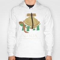 ninja turtle Hoodies featuring ninja - orange by Louis Roskosch