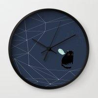 alisa burke Wall Clocks featuring my_spacecat by .eg.