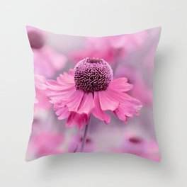 Pink flower macro 066 Throw Pillow