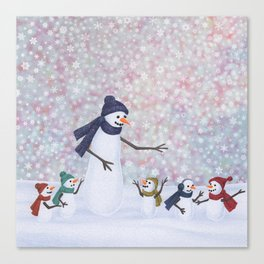 Mrs. Snowman and the kiddos Canvas Print
