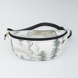 Winter scene houses and trees pattern Fanny Pack