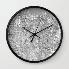 Jakarta Map Line Wall Clock