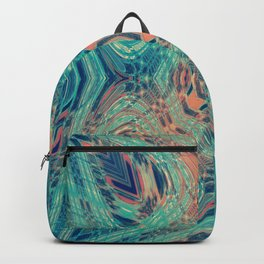 Tropical Teal and Coral Leaf Fashion Design Backpack