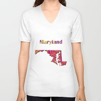 maryland V-neck T-shirts featuring Maryland Map by Roger Wedegis