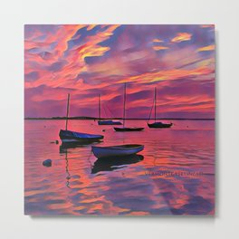 Sunset on the Mooring Field Boats Metal Print