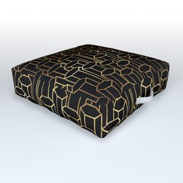 Hexagonal Columns \\ Black & Gold Outdoor Floor Cushion